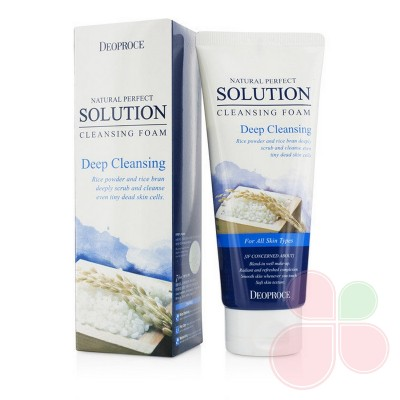 DEOPROCE Очищающая пенка с экстрактом риса Natural Perfect Solution Cleansing Foam Rice