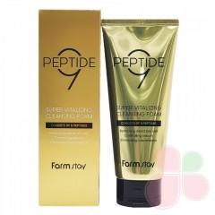 FARMSTAY Пенка для умывания с комплексов пептидов Peptide 9 super vitalizing cleansing foam