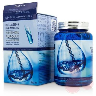 FARMSTAY Омолаживающая ампульная сыворотка Collagen & Hyaluronic Acid All-in-One