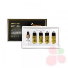 FARMSTAY Курс антивозрастной сыворотки с золотом и пептидами 24K Gold Special 4 Week Perfect Ampoule